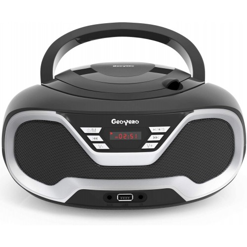 Geoyeao 2 in 1 CD Player Portable Boombox Bluetooth Speakers, Bluetooth/FM Radio/USB/AUX Input/3.5mm Headphone Jack, Boombox Stereo Sound System, Battery & AC Charge Powered Battery not Included